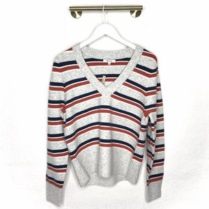 NWT Madewell Grey Striped Westgate V-Neck Sweater